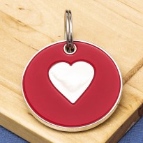 25mm Red Heart Pet Id Tag