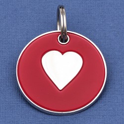 Large Dog ID Tag Red Heart