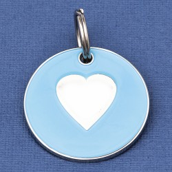 Large Dog ID Tag Blue Heart