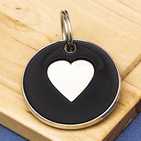 25mm Black Heart Pet Id Tag