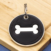 25mm Black Bone Pet Id Tag