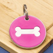 25mm Pink Bone Pet Id Tag