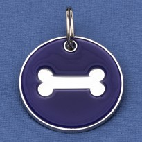 Large Dog ID Tag Purple Bone