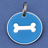 Large Dog ID Tag Blue Bone
