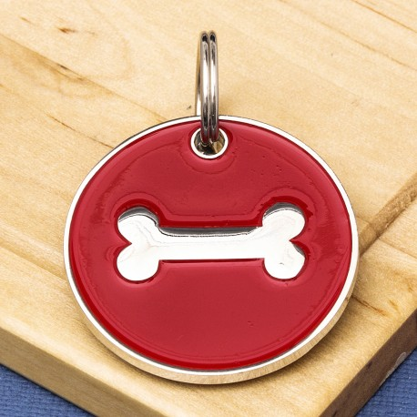 25mm Red Bone Pet Id Tag