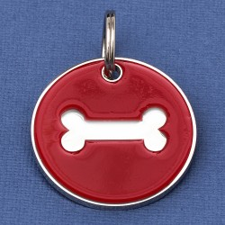 Large Dog ID Tag Red Bone