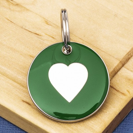 25mm Green Heart Pet Id Tag