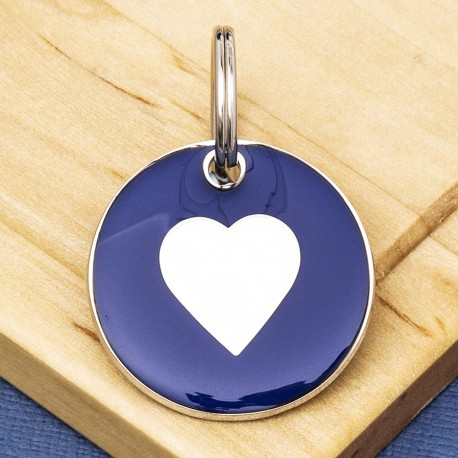 25mm Blue Heart Pet Id Tag