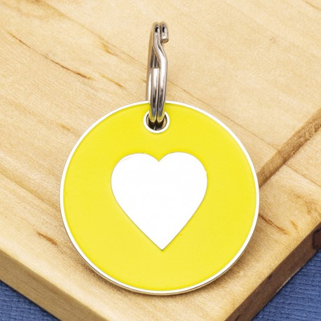 25mm Yellow Heart Pet Id Tag