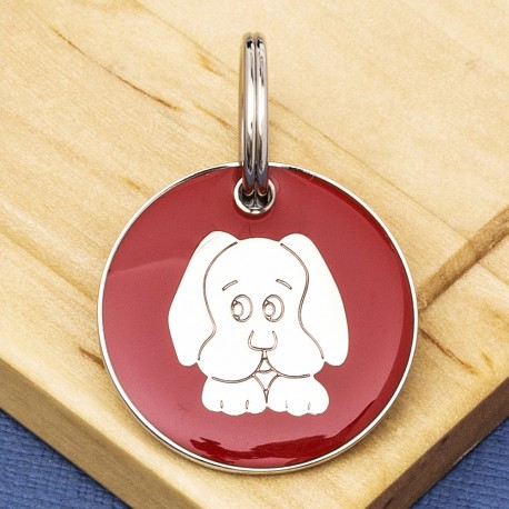 Red Dog Face Id Tag