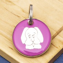 Pink Dog Face Id Tag