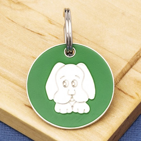 Green Dog Face Id Tag