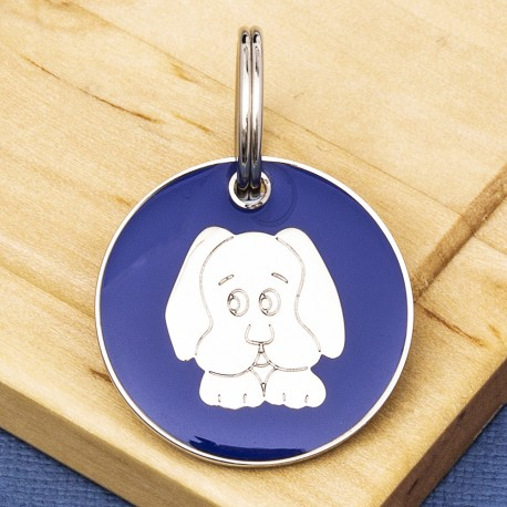 Blue Dog Face Id Tag