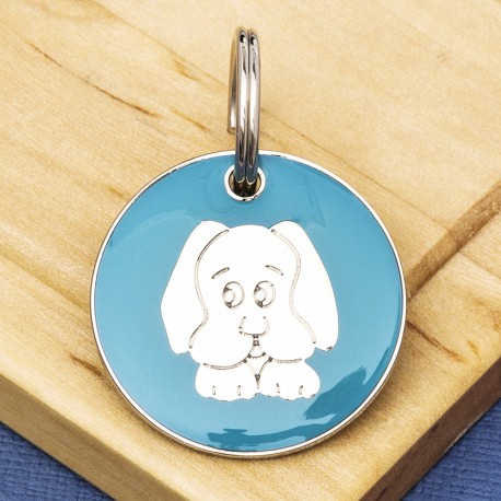 Aqua Dog Face Id Tag