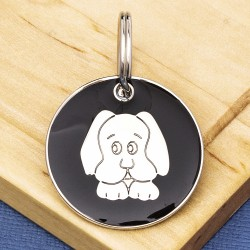 Black Dog Face Id Tag