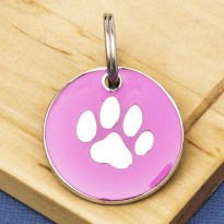 Pink Round Paw Id Tag