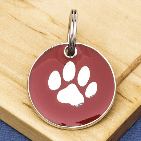 Red Round Paw Id Tag