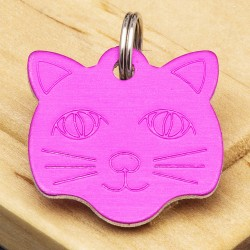 Pink Cat Face Id Tag