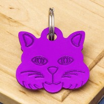 Cat Identity Tag Purple