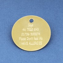 32mm Brass Pet Id Tag