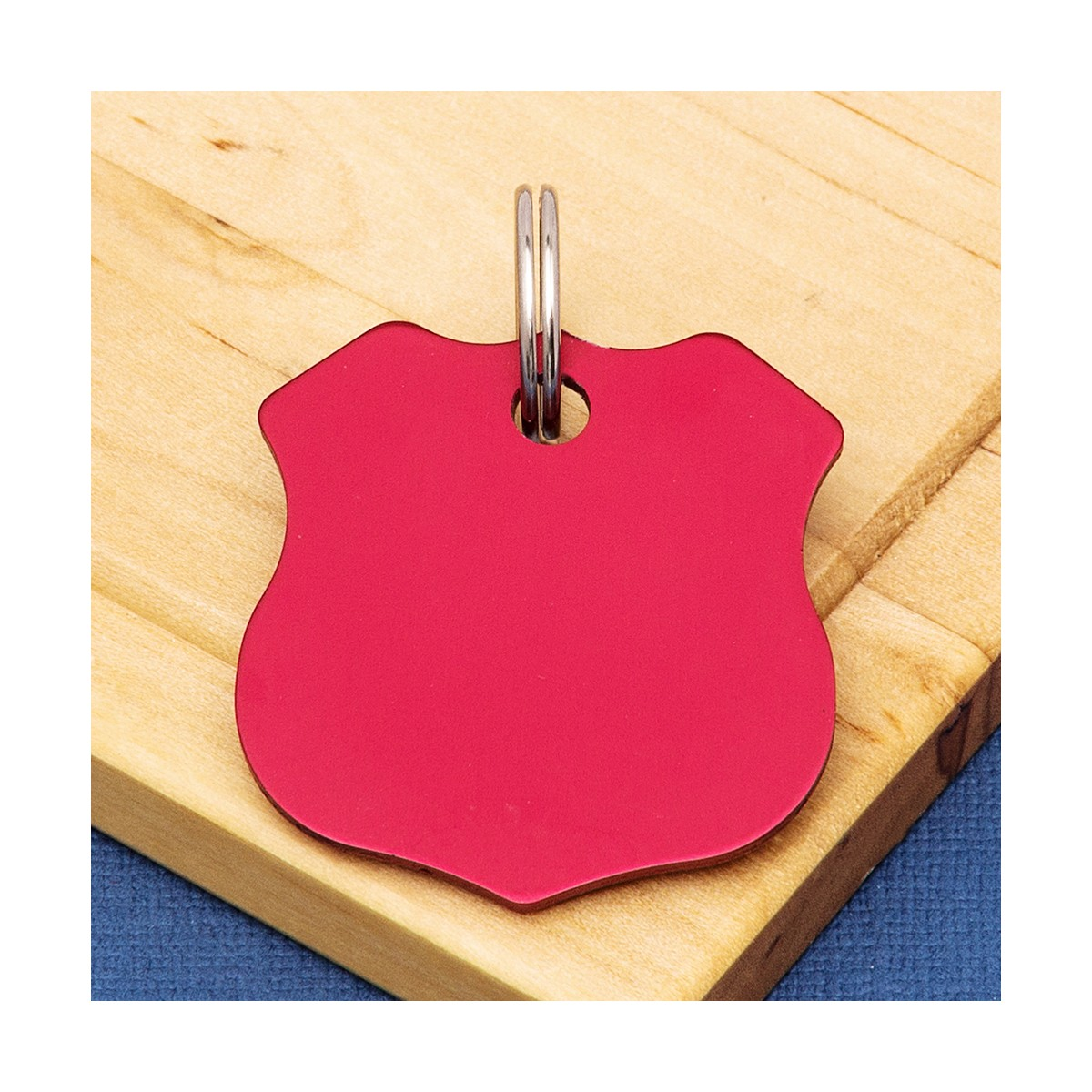 Shield Pet Id Tag Red Dog Id Disc Double Sided