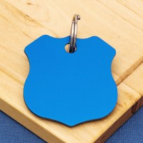 Shield Double Sided Pet ID Tag Blue