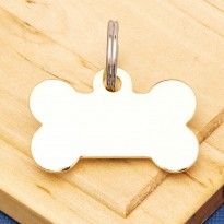 Gold Plated Bone Pet Tag Large