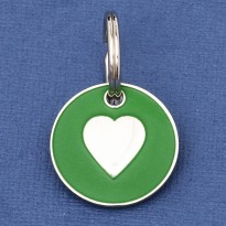 Puppy ID Tag Green Heart 20mm