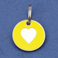 Puppy ID Tag Yellow Heart 20mm