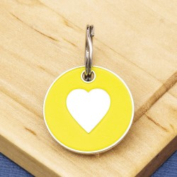Cat ID Tag Yellow Heart 20mm