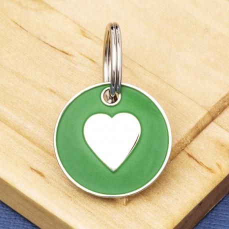 Cat ID Tag Green Heart 20mm