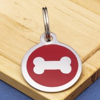 Stainless Steel Pet Tag Bone Red