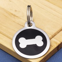 Stainless Steel Pet Tag Bone Black