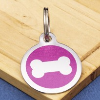 Stainless Steel Pet Tag Bone Pink