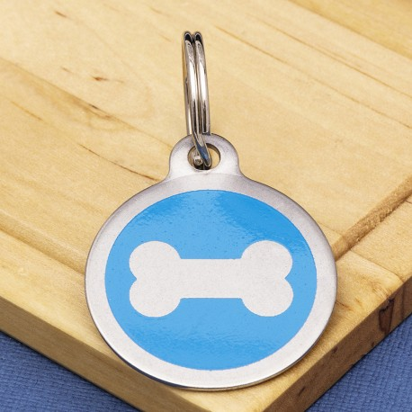 Stainless Steel Pet Tag Bone Print Blue
