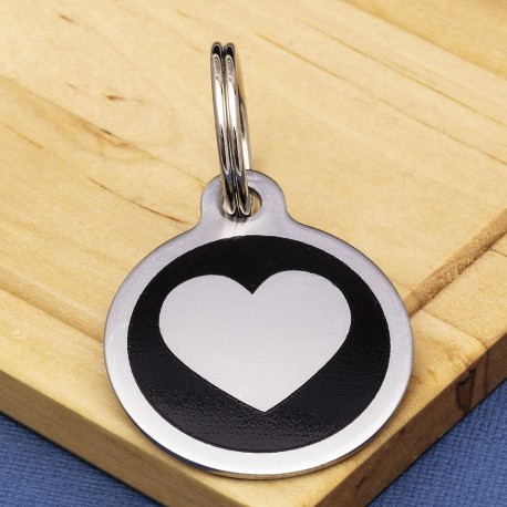 Stainless Steel Pet Tag Heart Black