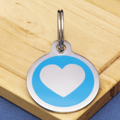 Stainless Steel Pet Tag Heart Blue