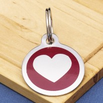 Stainless Steel Pet Tag Heart Red