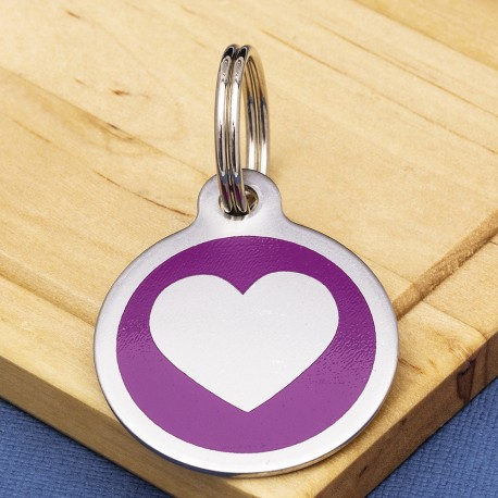 Stainless Steel Pet Tag Heart Purple
