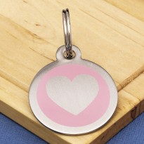 Stainless Steel Pet Tag Heart Pink