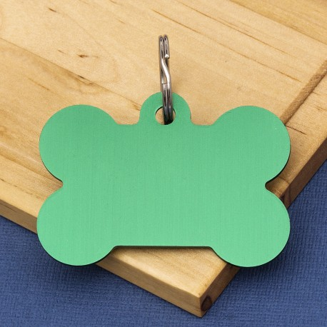 Extra Large  Bone Dog ID Tag  Green Double Sided