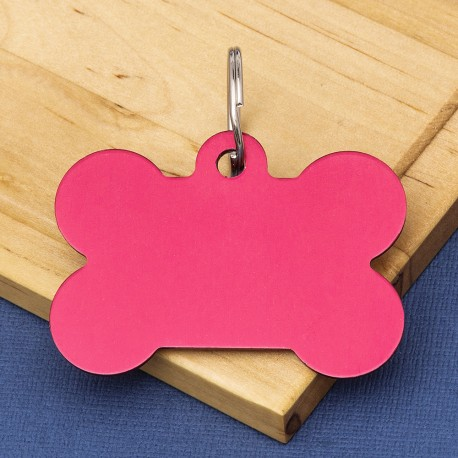 Extra Large Bone Dog ID Tag Red Double Sided