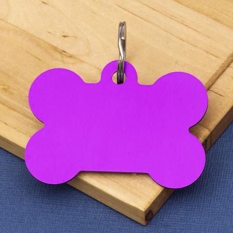 Extra Large Bone Dog ID Tag Purple Double Sided