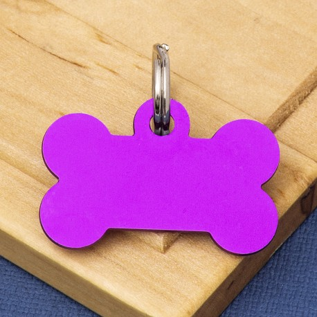 Small Bone Dog ID Tag Purple Double Sided