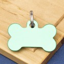 Small Bone Dog ID Tag Green Double Sided