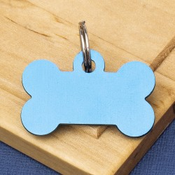 Small Bone Dog ID Tag Blue Double Sided
