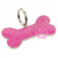 Pink Glitter Bone Dog ID Tag