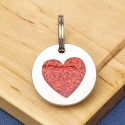 Small Glitter Heart Pet Tag Red
