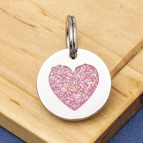 Small Glitter Heart Pet Tag Pink