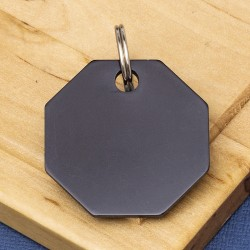 Octagon Pet Id Tag Black